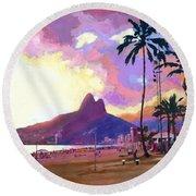 Ipanema Sunset Round Beach Towel