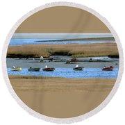 Ipswich River Clammers 2 Round Beach Towel