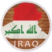 Iraq Rustic Map On Wood Round Beach Towel
