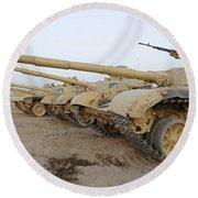 Iraqi T-72 Tanks From Iraqi Army Round Beach Towel