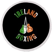 Ireland Boxing Color Light Boxers Irish Cool Gift Funny Flag Round Beach Towel