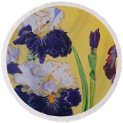 Iris Afternoon Delight Round Beach Towel