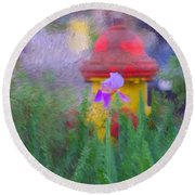 Iris And Fire Plug Round Beach Towel
