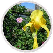 Iris And Wild Roses Round Beach Towel