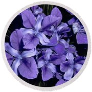 Iris At Night Round Beach Towel