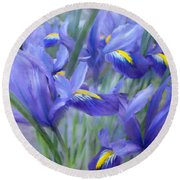 Iris Bouquet Round Beach Towel