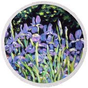 Iris En Folie Round Beach Towel