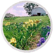 Iris Farm Round Beach Towel by Steve Karol