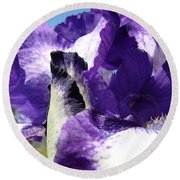 Iris Flower Art Print Purple Irises Botanical Floral Artwork Round Beach Towel