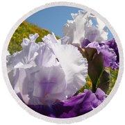 Iris Flowers Purple White Irises Poppy Hillside Landscape Art Prints Baslee Troutman Round Beach Towel