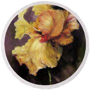 Iris Gold Round Beach Towel