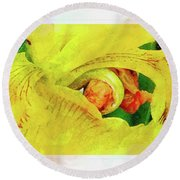 Iris In Abstract Round Beach Towel