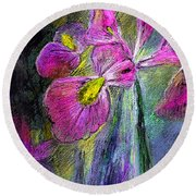 Iris In The Night Round Beach Towel