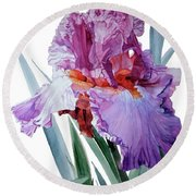 Watercolor Of A Tall Bearded Iris In Pink, Lilac And Red I Call Iris Pavarotti Round Beach Towel