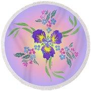 Iris Pinwheel Round Beach Towel