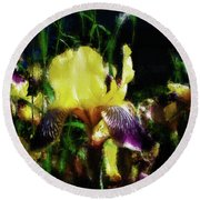 Iris Purple And Yellow Round Beach Towel