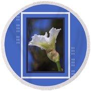 Iris White With Design Round Beach Towel
