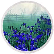 Irises At Dawn 3 Round Beach Towel