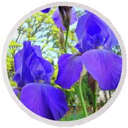 Irises Floral Garden Art Print Blue Purple Iris Flowers Baslee Troutman Round Beach Towel