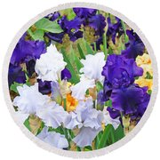 Irises Flowers Garden Botanical Art Prints Baslee Troutman Round Beach Towel