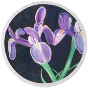 Irises Round Beach Towel