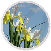 Irises In Blue Sky Art Print Spring Iris Flowers Baslee Troutman Round Beach Towel