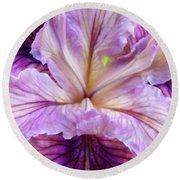 Irises Summer Purple Lavender Iris Flower Art Print Baslee Round Beach Towel