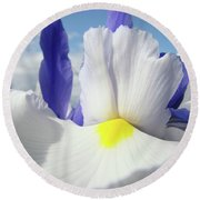 Irises White Iris Flowers 15 Purple Irises Art Prints Floral Artwork Round Beach Towel