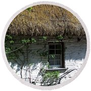Irish Farm Cottage Window County Cork Ireland Round Beach Towel