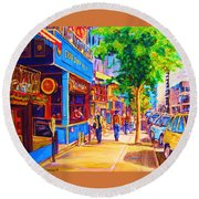 Irish Pub On Crescent Street Round Beach Towel