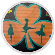 Irish Step Dancers Round Beach Towel