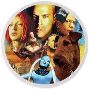 Irish Terrier Art Canvas Print - The Fifth Element Movie Poster Round Beach Towel