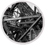 Iron Bridge Close Up In Black And White Round Beach Towel