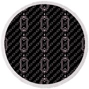 Iron Chains With Black Background Seamless Texture Round Beach Towel