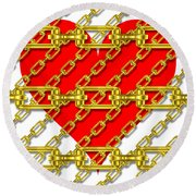 Iron Chains With Heart Texture Round Beach Towel