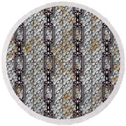 Iron Chains With Metal Panels Seamless Texture Round Beach Towel