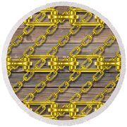 Iron Chains With Wood Texture Round Beach Towel