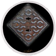 Iron Diamond Round Beach Towel