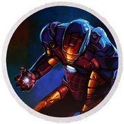 Iron Man Round Beach Towel by Paul Meijering