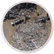 Iron Raw Materials Recycling Pile, Work Machines.  Round Beach Towel