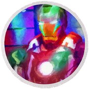 Ironman Abstract Digital Paint 2 Round Beach Towel