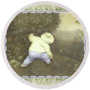Is Bunny In Bushes? Round Beach Towel