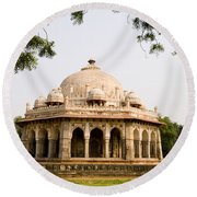Isa Khan Tomb Burial Sites Round Beach Towel
