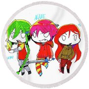 Isamu, Akane, And Amanda Round Beach Towel