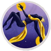 Ishtar Embraced By The Void Round Beach Towel