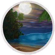 Island Beach Round Beach Towel by Corey Ford