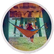 Island Dreams Under The Pier Watercolors Painting Round Beach Towel