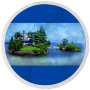 Island Home With Bridge - My Happy Place Round Beach Towel