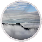 Island In The Clouds Round Beach Towel