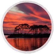 Island In The Fire Round Beach Towel
